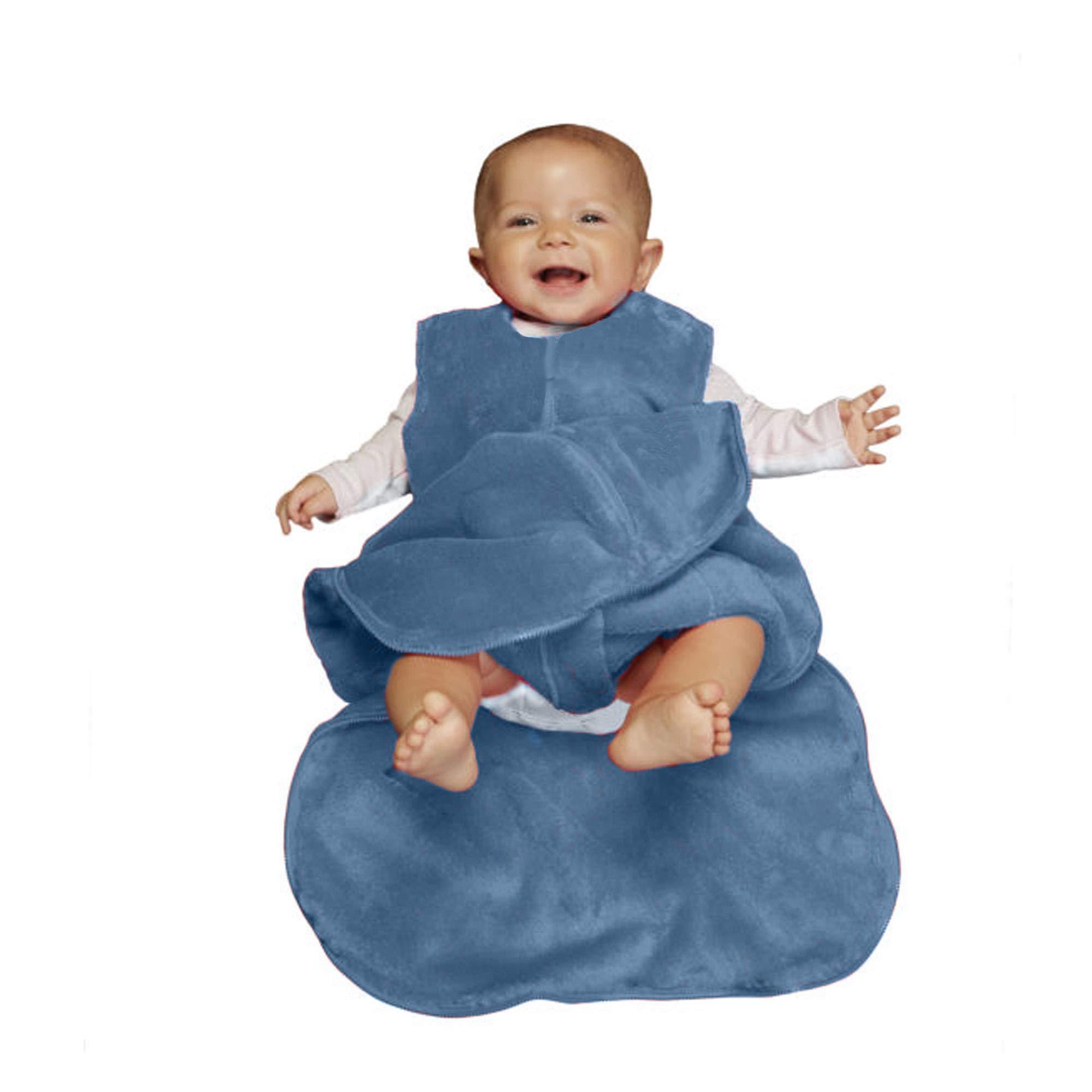 GUNAMUNA Gunapod Sleep Sack Unisex Fleece Wearable Blanket Baby Sleeping Bag, Denim Blue, 9-18 Months