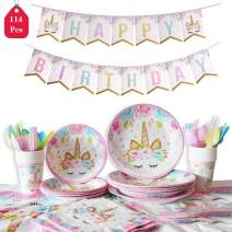 Amycute 114 Pcs Unicorn Disposable Tableware Set, Unicorn Table Cloth Plates Forks Cups Napkins,Baby Showers Birthday Party Favors Decorations Supplies