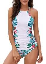 Dearlove Floral Print High Neck Tankini Tops with Short Swimwear Set S-2XL