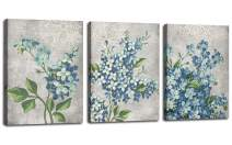 """Canvas Wall Art Full Bloosm Flowers Painting Pictures Blue Florals Prints, Retro Grey 12""""x16""""x3 Panels Botanical Stretched and Framed Ready to Hang for Bedroom Living Room Bathroom Home Office Décor"""