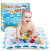 NASHRIO Baby Water Mat Infant Floating Playground, Tummy Floor Toy for Early Development, Inflatable Splashing Center for 3/6/9 Months Old Kids, Fun Fish Themed Play Mattress, BPA Free & Safe