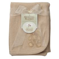 American Baby Company 30 X 40 Embroidered Swaddle Blanket Made with Organic Cotton, Mocha, Soft Breathable, for Boys and Girls