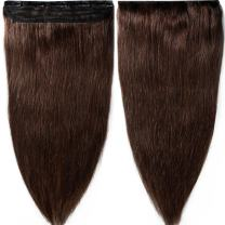 S-noilite 18inch 90g Real Human Hair Clip in Extensions One Piece 3/4 Full Head 5 Clips Invisible Straight Thick Clip on Hair Extensions for Women #2 Dark Brown
