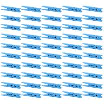 ANJUU 50pcs Craft Wood Clothespins Colored Wooden Photo Clothespins Paper Peg Pins Craft Spring Clips for Home Arts Crafts Decor, 2.75 inches (Azure)
