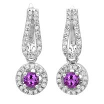 Dazzlingrock Collection 14K Ladies Halo Style Dangling Drop Earrings, White Gold