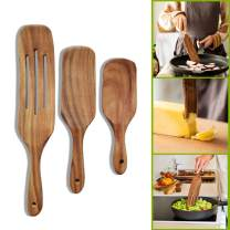 Spurtles Kitchen Tools, 3 Pcs Teak Spurtle Set Wooden Cooking Utensils With Hanging Hole, Wooden Kitchen Utensil Set, Slotted Wooden Spatula Wooden Spoons For Cooking, Stir, Scoop, Serve and Spread