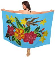 LA LEELA Women's Boho Sarong Bikini Cover Ups Beach Wrap Towel Skirt Hand Paint