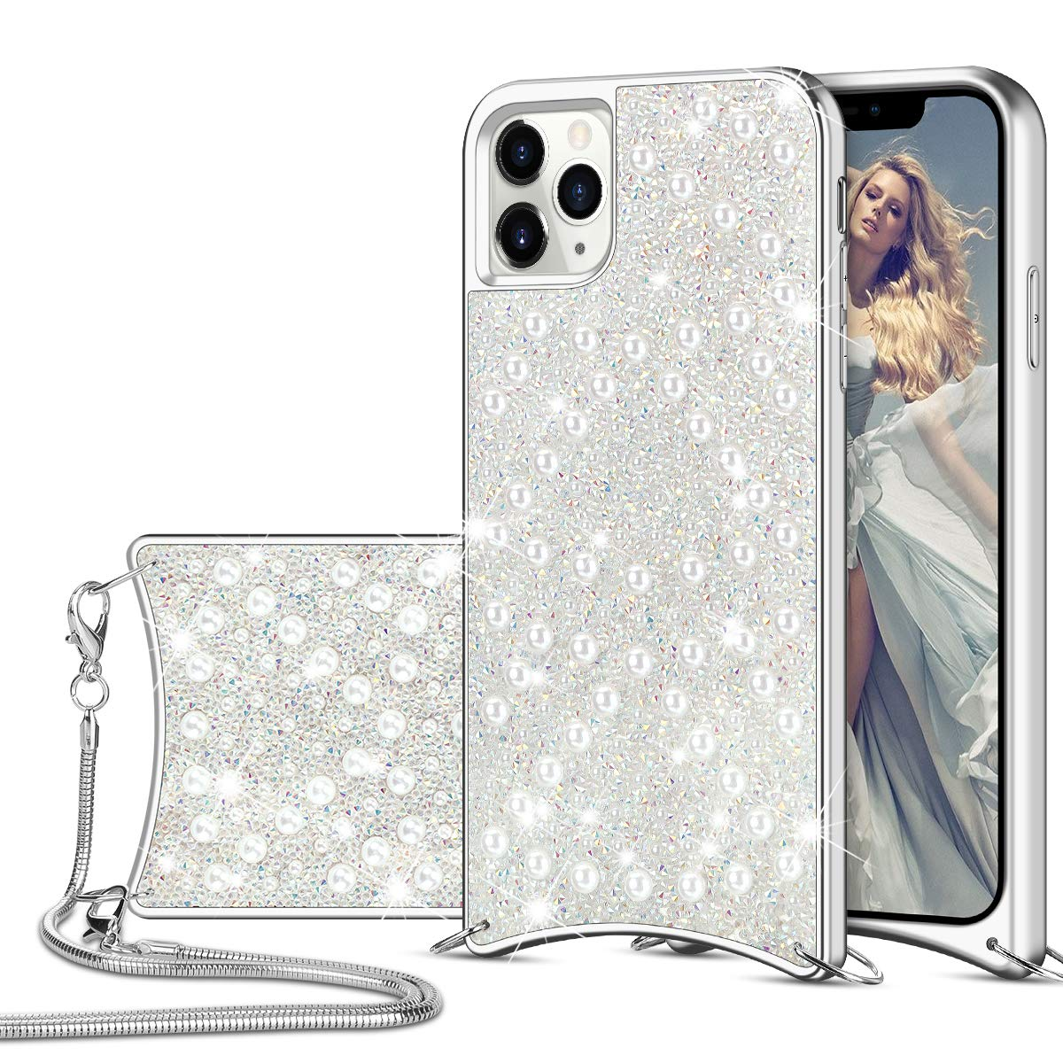 HoneyAKE for iPhone 11 Pro Max Case Glitter Bling Diamond Rhinestone Durable Hybrid TPU Bumper Hard Anti-Slip Back Cover with Crossbody Chain Protective Cover for iPhone 11 Pro Max White