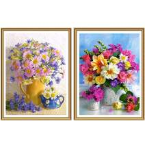 5D DIY Diamond Painting Kit 2 Pack Flower for Adults Full Drill by Number Kits, Paint with Diamonds Clearance Craft Embroidery Rhinestone Cross Stitch Art Décor (12x16 inch)