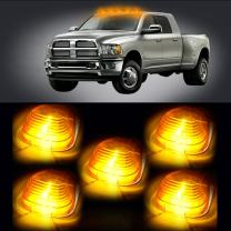 cciyu Cab Marker Light 5x T10 194 168 Ultra White Top Clearance Roof Running Bulbs with 5x Amber Cab Roof Light Covers Cab Marker Assembly fit for F-250 F-350 Super Duty