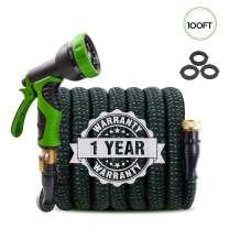 """Upgraded Expandable Garden Hose 100ft Retractable Water Hose, Flexible Garden Hose, Durable 4 Layer Latex, 3/4"""" Solid Brass Connectors with 9 Modes Spray Nozzle, Ideal Choice for Watering and Washing"""