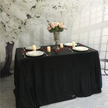 """TRLYC 60"""" 102"""" Black Luxury Elegant Shimmer Black Sequin Table Cloth for Wedding and Party"""