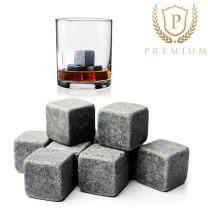 MOKIE Whiskey Stones Set of 9, Reusable Ice Cubes for Drinks Rocks, Grey Beverage Chilling Stones Whiskey Soapstones for Whiskey and Beverages