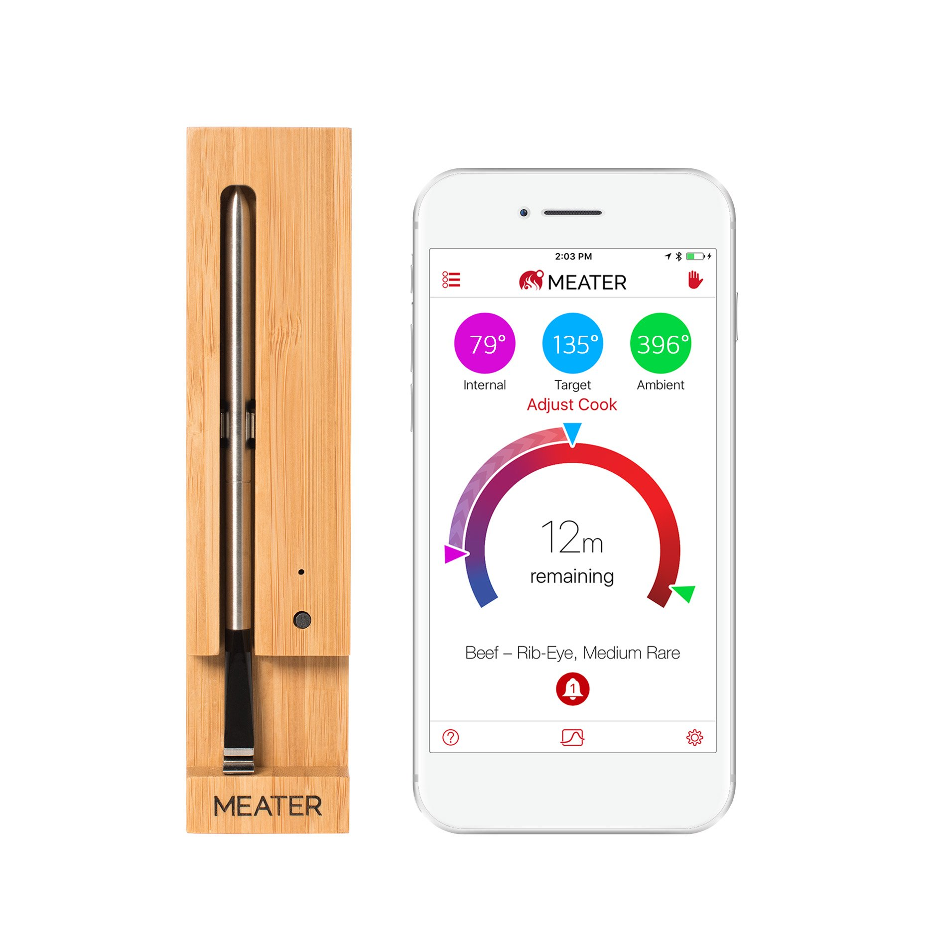 MEATER Up to 33 Feet Original True Wireless Smart Meat Thermometer for the Oven Grill Kitchen BBQ Rotisserie with Bluetooth and WiFi Digital Connectivity