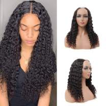 """BLY U Part Wigs Human Hair 22 Inch Deep Wave Curly Virgin Hair Wigs 2""""x4"""" Middle Part Clip In Hair Extensions Glueless Half Wigs for Black Women 150% Density Natural Color"""