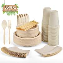 Gezond 350 Pcs Disposable Dinnerware Set, Eco-friendly Heavy-duty Paper Plates Includes Compostable Biodegradable Plates, Forks, Knives, Spoons, Cups and Straws for 50 Guests (Natural Plates)