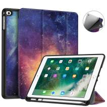Fintie Case with Built-in Pencil Holder for iPad 9.7 2018 2017 / iPad Air 2 / iPad Air - [SlimShell] Lightweight Soft TPU Back Protective Cover w/Auto Wake Sleep, Galaxy