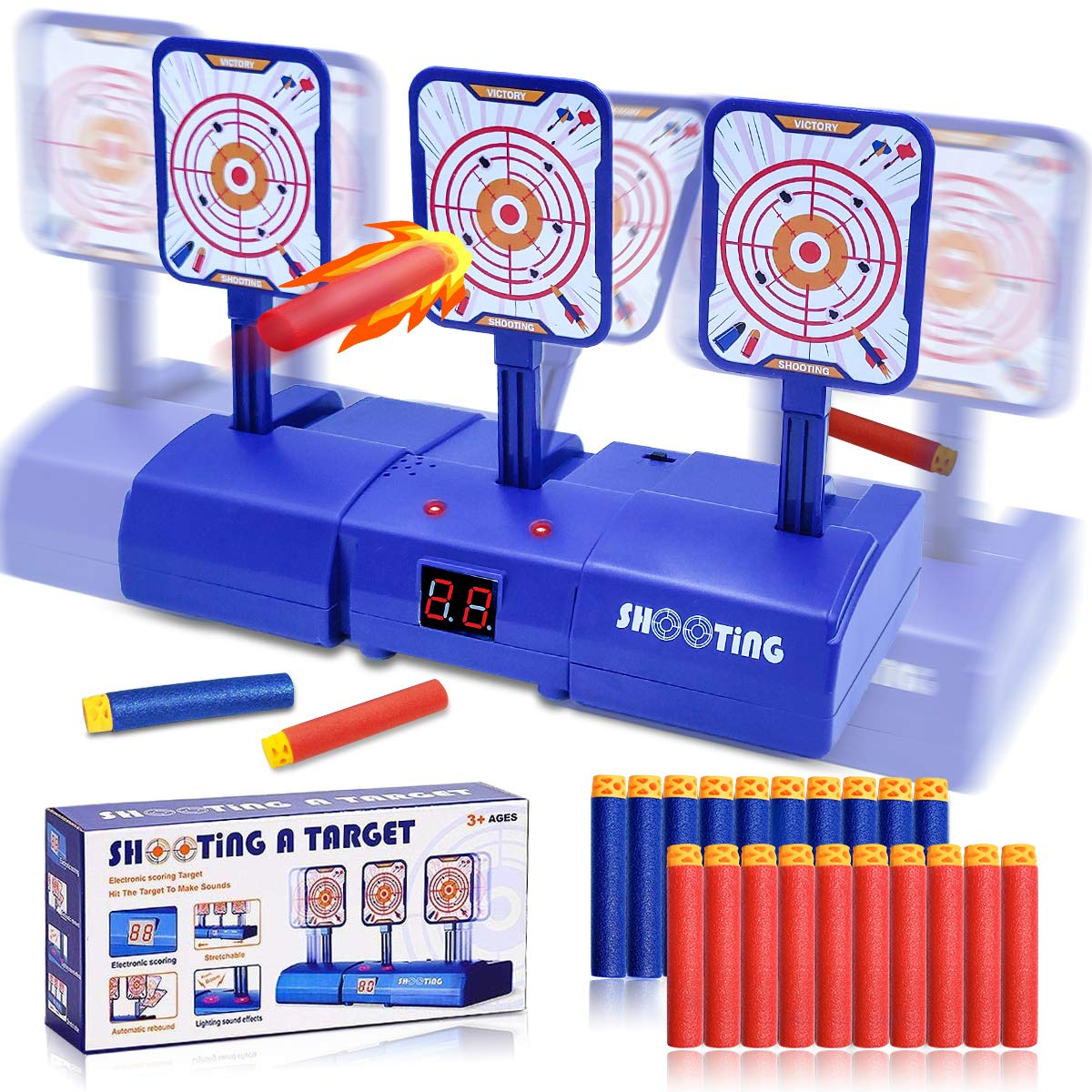 Electronic Digital Target for Nerf Moving Shooting Auto Reset Targets for Nerfs Guns Toys with 20 PCS Darts Idea Easter Basket Toy Gift for Boys Girls Toddlers