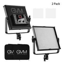 GVM LED Video Light Panel, Bi-Color Studio Video Lights Dimmable Video Lighting Kit for YouTube Photography Lighting, 2 Packs Led Light Panels, 520 Light Beads, 3200K-5600K