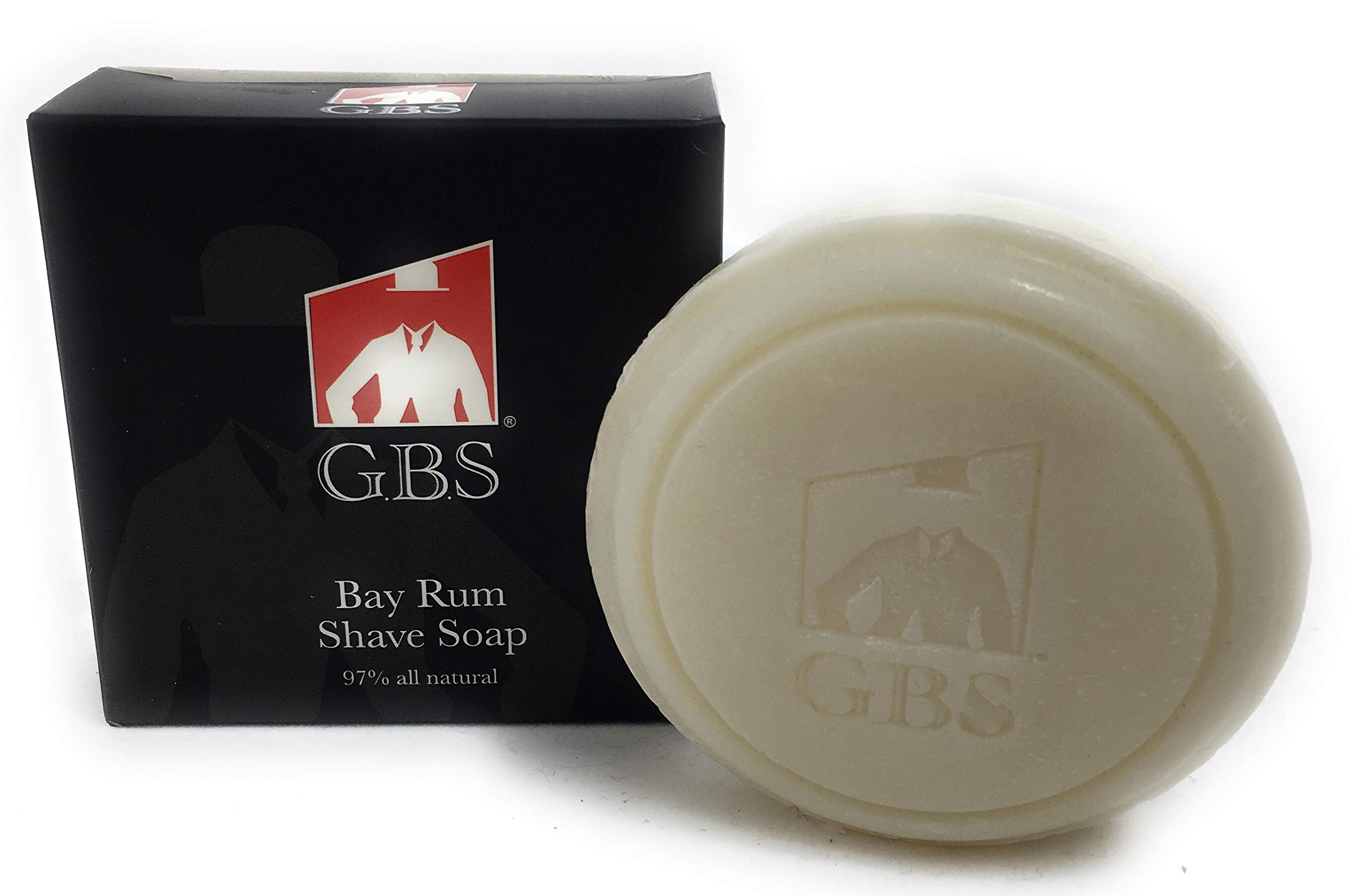 GBS 97% Bay Rum All-Natural Shave Soap Made with Shea Butter and Glycerin Made in The USA Creates a Rich Lather Foam for Ultimate Wet Shaving Experience