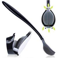 Suspended toilet brush with bracket, wall-mounted silicone toilet brush, and long handle design with bendable brush head for deep cleaning and convenient storage.