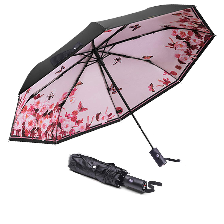 ABCCANOPY Umbrella Compact Rain&Wind Teflon Repellent Umbrellas Sun Protection with Black Glue Anti UV Coating Travel Auto Folding Umbrella, Blocking UV 99.98%,pink butterfiles
