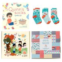 Perfect Gift for Baby, Toddler or Kid (0-6 year old). Quinn's Socks - Book and Matching Organic Cotton Kids Socks Gift Set.