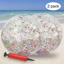 KOMIWOO Glitter Beach Ball, Confetti Beach Ball, Inflatable Beach Ball Bulk Pool Toys for Kids Summer Party Favors (2pack,24inch)