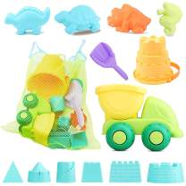 Simplenice Sand Toys for Kids, 13Pcs Sand Toys Set Includes Sand Truck, Castle Bucket, Shovel Tool , Sand Molds, with Carrying Net Bag