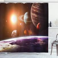 """Ambesonne Galaxy Shower Curtain, Space Theme View of The Planets from Earth Science Room Art with Sun and Moon, Cloth Fabric Bathroom Decor Set with Hooks, 75"""" Long, Magenta Orange"""