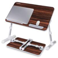 Laptop Bed Table, NEARPOW Adjustable Laptop Bed Tray for Computer and Laptop Bed Stand, Laptop Desk for Bed, Lap Desk for Adults for Eating and Writing in Sofa and Couch, Brown