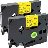 NEOUZA 2PK Compatible for Brother P-Touch Laminated Tze Tz Label Tape Cartridge 6mm x 8m (TZe-611 Black on Yellow)