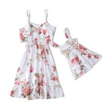 IFFEI Mommy and Me Dress Strappy Summer Matching Dress Pink Rose Floral Printed for Mother and Daughter