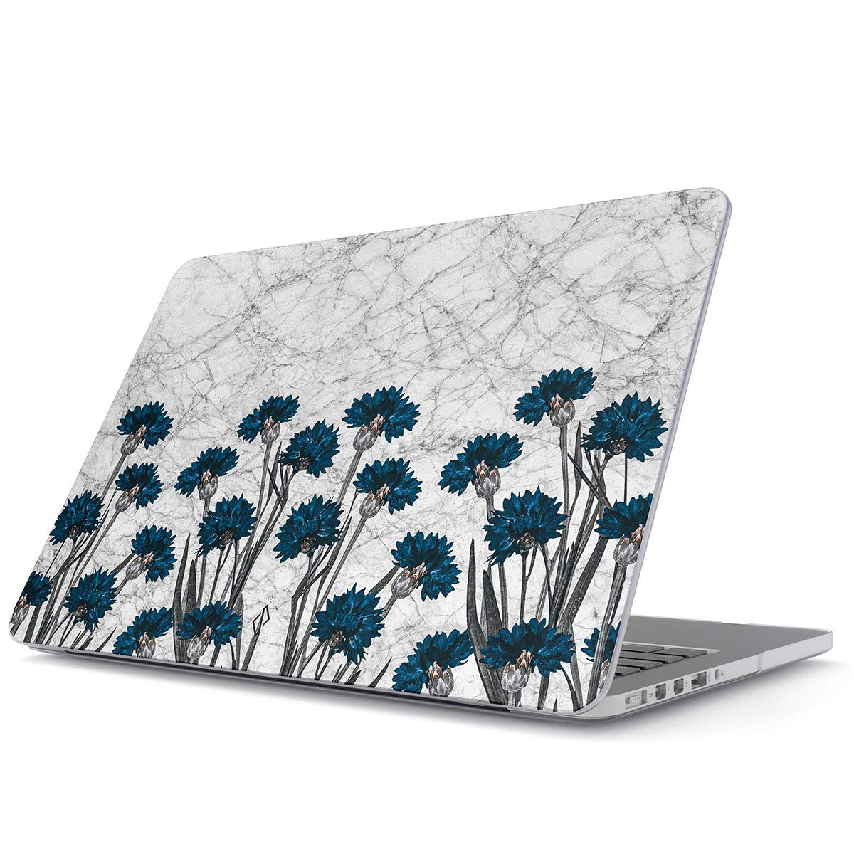 BURGA Hard Case Cover Compatible with MacBook Air 13 inch Case Release 2018-2019, Model: A1932 with Retina Display and Touch ID Blue Floral White Marble