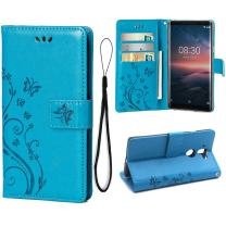 Wallet Case for Nokia 8 Sirocco, 3 Card Holder Embossed Butterfly Flower PU Leather Magnetic Flip Cover for Nokia 8 Sirocco(Blue)