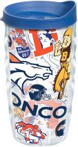 Tervis 1247897 NFL Denver Broncos All Over Tumbler with Wrap and Blue Lid 10oz Wavy, Clear