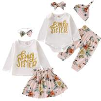Kids Newborn Baby Girls Sister Outfit Letter Romper T-Shirt+Floral Print Tutu Skirt Long Pants Dress Matching Clothes Set