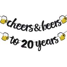 Cheers & Beers to 20 Years Black Glitter Banner for 20th Birthday Wedding Aniversary Party Supplies Decorations - PRESTRUNG