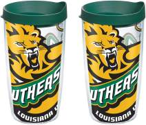 Tervis 1088924 Southeastern Louisiana Lions Colossal Tumbler with Wrap and Hunter Green Lid 2 Pack 16oz, Clear