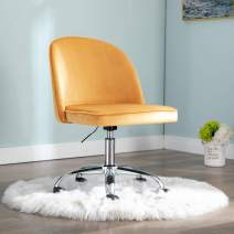 chairus Tufted Task Chair, Reception Chair with Height Adjustment (Armless Design for Small Homes and Offices), Orange Yellow