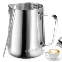 HOOMIL Milk Frothing Pitcher, Stainless Steel Espresso Steaming Pitcher 20OZ/600ML Coffee Milk Frother Cup with Decorating Art Pen for Espresso Machine, Milk Frother, Latte Art