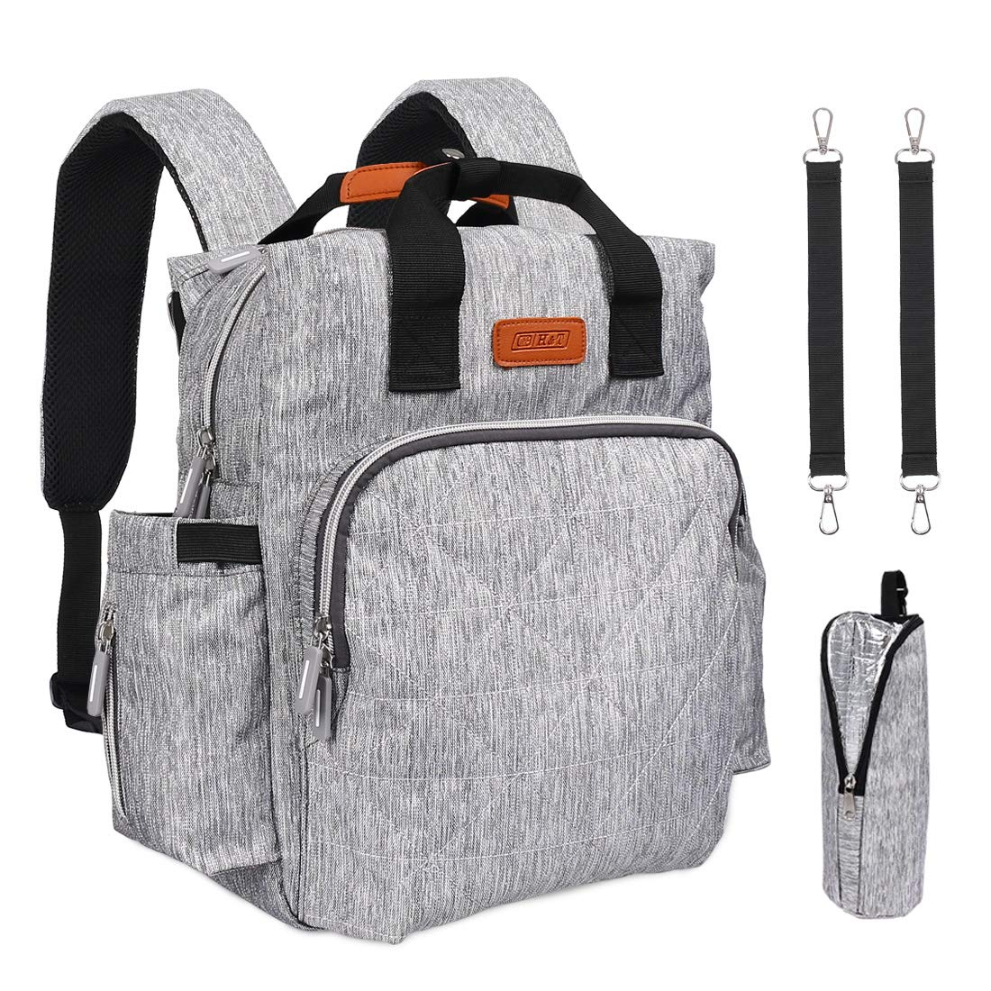 Diaper Bag Backpack, Large and Covenience Diaper Bags for Baby Girl/Boy, Multi-Function Waterproof Travel Baby Bag with USB Charging Port/Stroller Straps/Thermal Pockets/Changing Mat,Grey
