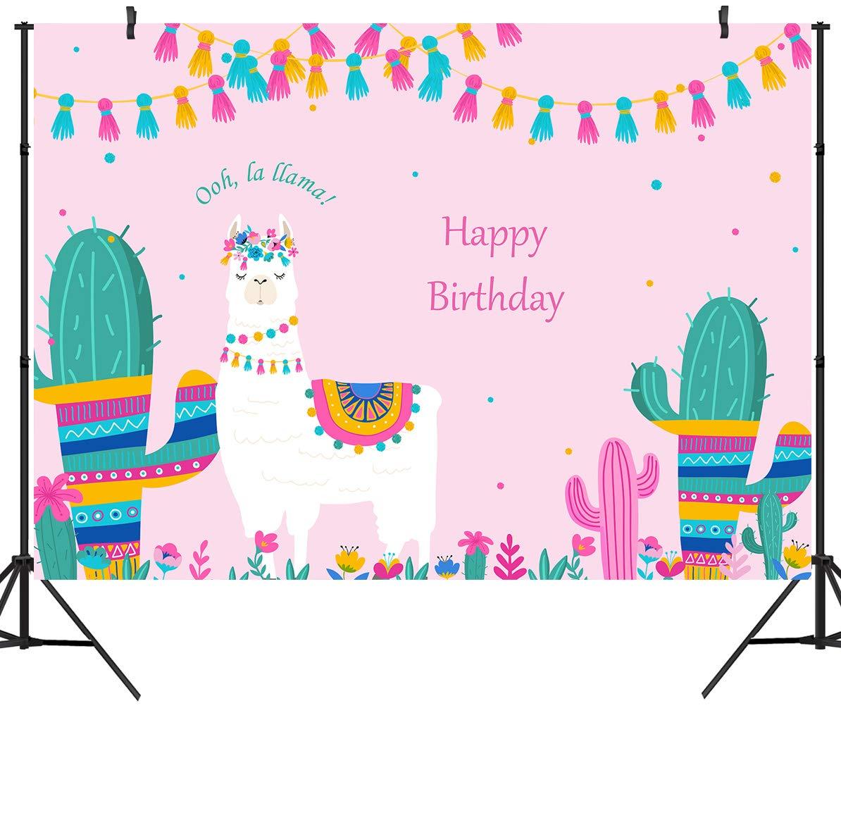 DULUDA 5X3FT oh La Llama Backdrop Happy Birthday Llama Fun Photography Background Vinyl Pink Alpaca Baby Shower Party Banner Decoration Photo Booth Prop AP03F