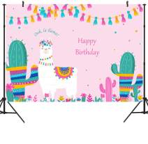DULUDA 7X5FT oh La Llama Backdrop Happy Birthday Llama Fun Photography Background Vinyl Pink Alpaca Baby Shower Party Banner Decoration Photo Booth Prop AP03