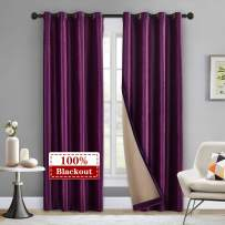 """LoyoLady Violet Velvet Blackout Curtain 102 Inch Length, 100% Blackout Thermal Insulated Curtains for Living Room, Grommet Top Complete Blackout Window Curtain, Set of 2 Panels 84"""" W x 102"""" L"""