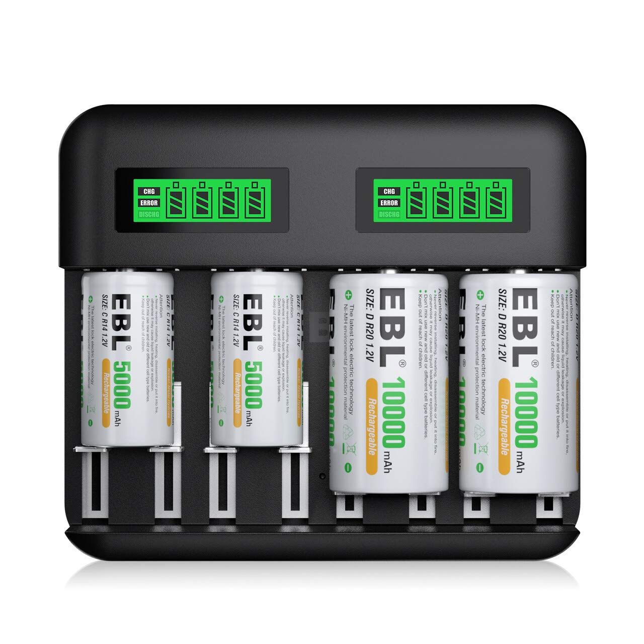 EBL 8-Bay LCD Battery Charger USB Port Type C Input for AA AAA C D Rechargeable Batteries - Rechargeable C Battery 5000mAh × 2, D Battery 10000mAh × 2 and Battery Charger Combo