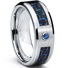 Metal Masters Co. 8MM Tungsten Carbide Ring Blue Sapphire .050 Carat & Black/Blue Carbon Fiber Inlay Wedding Band Sizes 7 to 13
