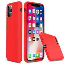 """lopie iPhone 11 Liquid Silicone Case, [Silky Series] Slim Gel Rubber Full Body Protection Shockproof Cover for iPhone 11 2019 (6.1""""), Red"""