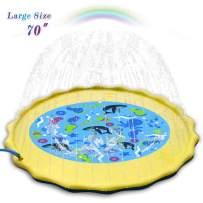 G.CORE Splash Pad Sprinkle & Splash Play Mat Sprinkle Pool 70'' Large Size Enhanced PVC Eco-Friendly Material Summer Water Toys for Baby Children Outdoor Summer Play Beach Yard Sprinkler Cushion
