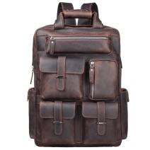 S-ZONE Men Vintage Genuine Leather Backpack Daypack Multi Pockets Travel Bag